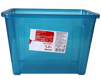 AUCHAN Caja de ordenación con tapa, capacidad de 4,6 litros, fabricada en plástico azul, 26,2x17x18,8 centímetros 1 Unidad
