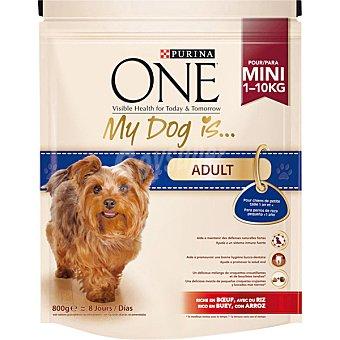 Purina Alimento para perros adultos de raza pequeña adultos rico en pollo y arroz  My Dog is Adult Paquete de 800 g