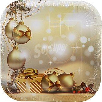 ONEUSE Plato cuadrado decorado navidad 23 cm Paquete 8 unidades