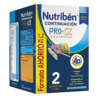 Nutribén Continuación 2 Pro-Alfa leche de continuación a partir del 6º mes formato ahorro sin aceite de Palma Caja 1200 g