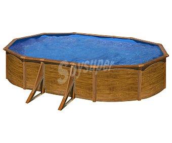 GRE Piscina ovalada con estructura reforzada de chapa con exterior imitando a madera, escalera de tijera de seguridad, depuradora de arena con capacidad de 4000 litros/hora, medidas de 730x375x120 centímetros y capacidad de 26280 litros 1 unidad