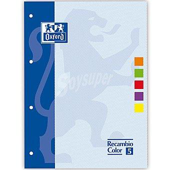 Oxford Bloc recambio color 5 A4 con 80 hojas 90 g con 5 colores de recuadro 90 g
