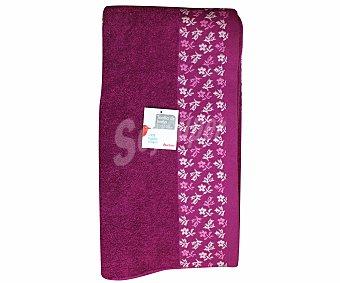 AUCHAN Toalla 100% algodón para baño, estamapado jacquard color rosa fucsia, 100x150 centímetros 1 Unidad