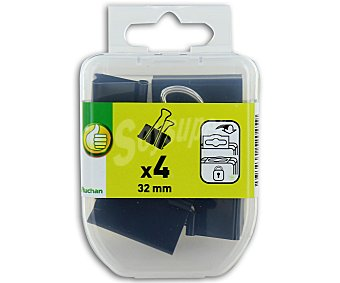 PRODUCTO ECONÓMICO ALCAMPO Pinzas Abatibles de 30 Milímetros Color Negro 4 Unidades