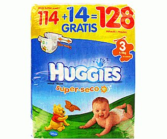 Huggies Pañales superseco talla 3 Paquete de 128 unidades