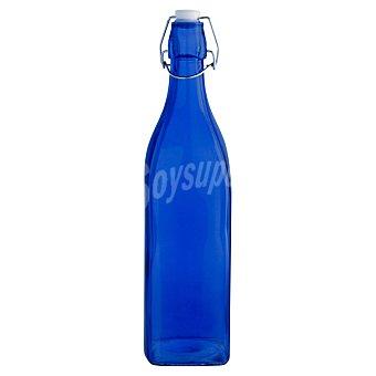 QUID Colortronic Botella de vidrio cuadrada con tapón en color azul 1 unidad