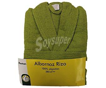AUCHAN Albornoz 100% algodón rizo, 380 gramos/m², color verde, talla mediana 1 Unidad