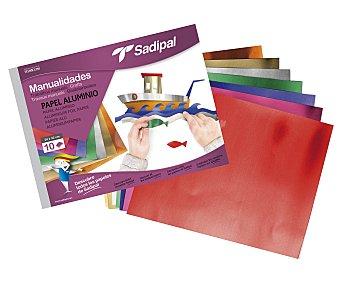Sadipal Bloc de manualidades con 10 hojas de 32 x 24 centímetros, de papel de aluminio de diferentes colores sadipal