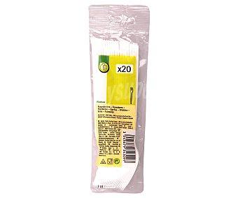 Productos Económicos Alcampo Tenedores desechables fabricados en plástico blanco 20 unidades