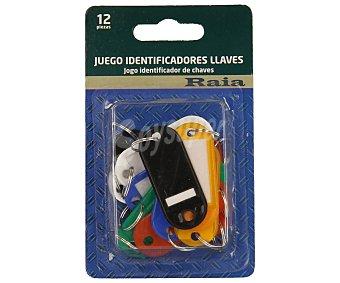 Raia Lote con 12 identificadores de llaves de diferentes colores raia