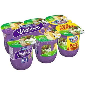 Vitalínea Danone Yogur desnatado 3 con trozos de kiwi + yogur desnatado 3 con trozos de piña Pack 6 unidades 125 g