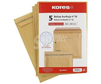 Kores Sobres de papel Kraft de tamaño 220 x 340 milímetros de color marrón, con burbujas en su interior del número 16 5 unidades