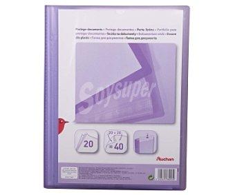 Auchan Carpeta con 20 fundas de tamaño folio, color morado y tapa personalizable 1 unidad
