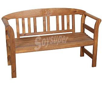 PROFILINE Banco de madera de acacia 100% fsc, ornamentado y de 130x50x80 centímetros 1 unidad