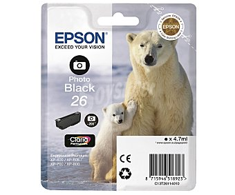 EPSON Oso Polar Cartucho de tinta epson 26, Negro fotográfico, compatible con impresoras: XP-600 / XP-605 / XP-700 / XP-800 / XP-510XP-520 / XP-610 / XP-615 / XP-620 / XP-625XP-710 / XP-720 / XP-810 / XP-820 26 Negro foto