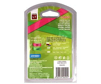 Dymo Lote de 2 cintas para rotulación y etiquetado, de plástico de colores rosa y verde neón y con medidas de 4 metros x 12 milímetros DYMO