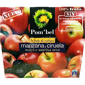 POM'BEL Compota de manzana y ciruela 100% fruta Pack 4 tarrinas 100 g