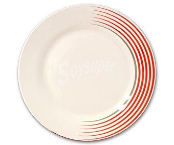 GSMD Plato llano modelo Line, fabricado en porcelana con diseño redondo de color blanco con líneas rojas 1 Unidad