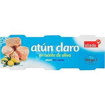 ALIADA Atún claro en aceite de oliva  Pack 3x52 g peso neto escurrido
