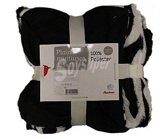 Auchan Mantita plaid símil piel y reverso polar, estampado cebra, 125x115 centímetros 1 Unidad