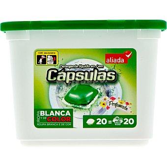 ALIADA Detergente máquina líquido perfumado para ropa blanca y de color  envase 20 capsulas