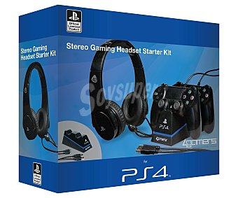 SONY Pack Gaming Starter Kit para Play Station 4; Auriculares con Micrófono y Base para 2 Mandos 1 Unidad