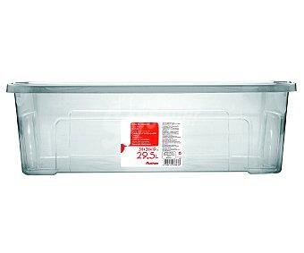 AUCHAN Caja de ordenación con tapa, capacidad de 29,5 litros, fabricada en plástico transpartente, 58,2x38x18,8 centímetros 1 Unidad
