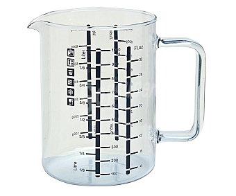 TECNHOGAR Jarra medidora con impresión de capacidad para líquidos y peso, fabricada en vidrio borosilicato 1 Unidad