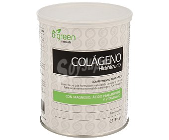 B-GREEN Complemento alimenticio de colágeno hidrolizado con magnesio, ácido hialurónico y vitamina C (contribuye a la formación natural del colágeno para el funcionamiento normal de cartílagos, huesos y piel) 300 g