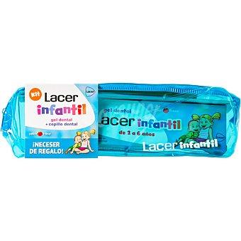 Lacer Infantil gel dental sabor fresa tubo 50 ml + cepillo dental de 2 a 6 años + neceser de regalo Tubo 50 ml
