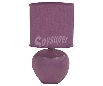 DUPI Lámpara sobremesa de cerámica y tela color morada modelo Isa para bombillas con casquillo E14 hasta 25 Wattios, 23,5x13 centímetros 1 unidad