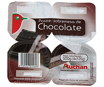 Auchan Postre de chocolate (preparado lácteo de chocolate) 4 unidades de 125 gramos
