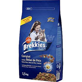 Brekkies Affinity Comida gatos para el control de bolas de pelo con carne y pescado Excel Complet Bolsa 1,5 kg