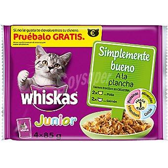 PLANCHA Pollo y salmón a la en trocitos con gelatina para gatos Pack 4 bolsa 85 g
