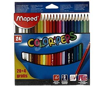 Maped Caja de 24 lápices para colorear, con cuerpo triangular y mina extraresistente 1 unidad