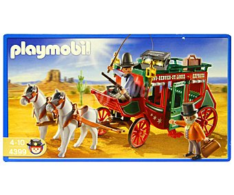 PLAYMOBIL Playset Coche de caballos La Diligencia, incluye 2 figuras, 1 cabalo y accesorios, modelo 4399 Western 1 unidad