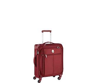 VISA DELSEY Pin Up 5 Maleta flexible de cabina slim, color rojo, con 4 ruedas, cierre con código y TSA. DELSEY.