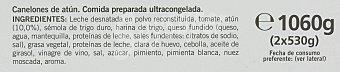 LA COCINERA Canelones de Atún 1060 Gramos