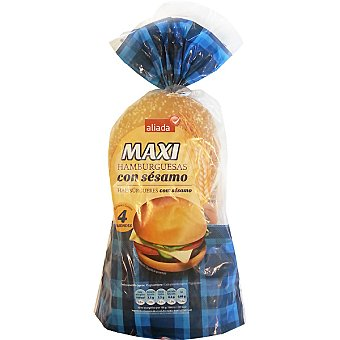 ALIADA pan de hamburguesas maxi con sésamo bolsa 300 g Bolsa de 4 unid - 300 gr