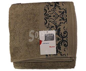 AUCHAN Toalla de lavabo, algodón color beige, estampado jacquard, 450 gramos/m², 50x100 centímetros 1 Unidad
