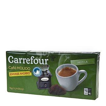 Carrefour Café molido mezcla 50% natural, 50% torrefacto Pack de 4x250 g