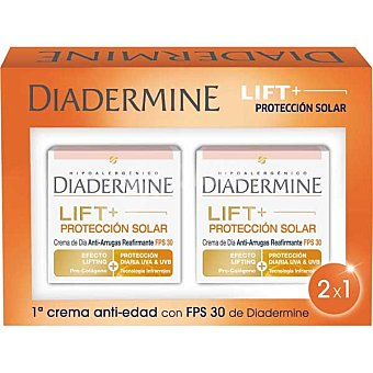 Diadermine Protección crema antiarrugas FPS-30 efecto lifting + protección diaria UVA  pack 2 tarros de 50 ml