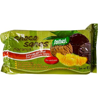Santiveri Choco sanas naranja galletas bañadas con chocolate negro sin azúcares Envase 85 g