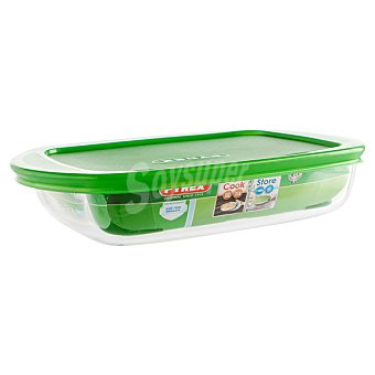 PYREX Cook & Store Fuente de cristal rectangular con tapa en color verde 23 cm 1 Unidad