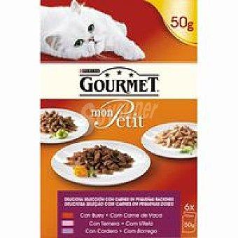 Gourmet Purina Alimento para gatos carne Mon Petit 6 x 50g