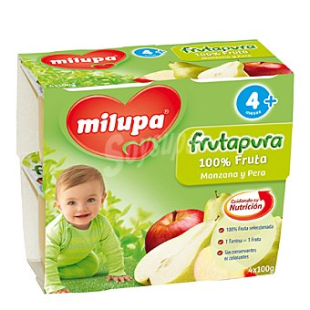 Milupa Tarrito Frutapura manzana y pera Pack de 4x100 g