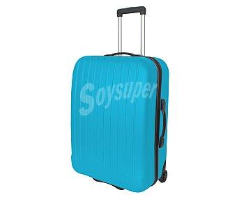 Maleta Maleta de 2 ruedas, abs, rígida y con diseño de rayas verticales sobre un fondo de color azul claro, medida: 67 centímetros 67cm