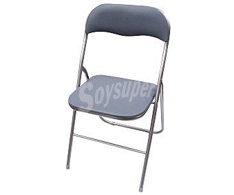 BKN Silla metálica plegable, con respaldo y asiento acolchados en color gris 1 unidad