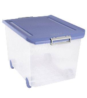 Tatay Caja multiusos transparente 6l. con ruedas y tapa azul 1 ud