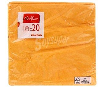 Auchan Servilletas 3 capas 40x40cm amarillas 20 Unidades